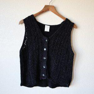 90's Black Chenille Knit Vest